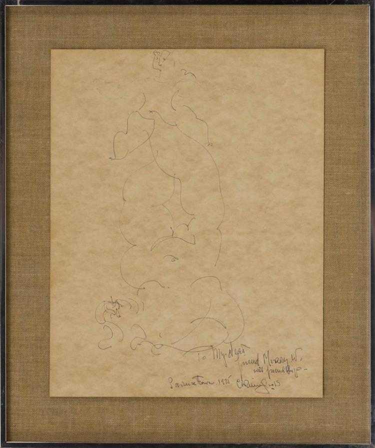 "CHAIM GROSS, New York/Massachusetts, 1904-1991, Two nudes., Ink on paper, 14"" x 11"". Framed 18"" x 15""."