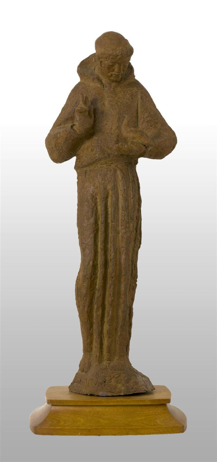 """ARNOLD GEISSBUHLER, Massachusetts, 1897-1993, Saint Francis holding a bird., Red clay sculpture, height 24.75"""". Includes wooden stand."""