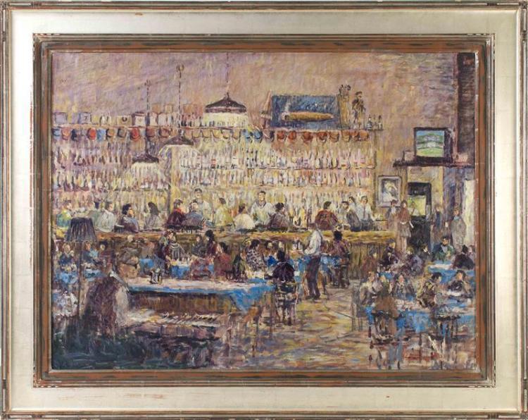 """LORETTA FEENEY, Massachusetts, b. 1961, Joe's Bar, Barley Neck Inn, Orleans, Massachusetts., Oil on canvas, 30"""" x 40"""". Framed 39"""" x..."""