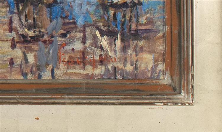 LORETTA FEENEY, Massachusetts, b. 1961, Joe's Bar, Barley Neck Inn, Orleans, Massachusetts., Oil on canvas, 30