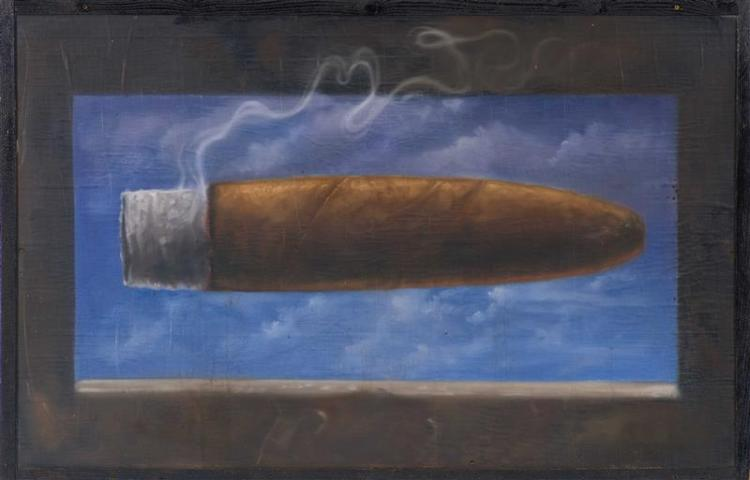 "JAMES CRESPINEL, Pacific Northwest, Contemporary, Burning cigar on a blue sky, Oil on canvas laid down on plywood, 38"" x 58"" inclusi..."