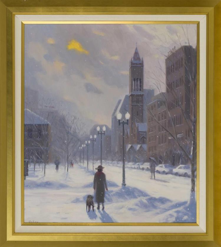 "SAM VOKEY, Massachusetts, b. 1963, Old South Church, Back Bay, Winter., Oil on canvas, 30"" x 26"". Framed 36"" x 31.5""."