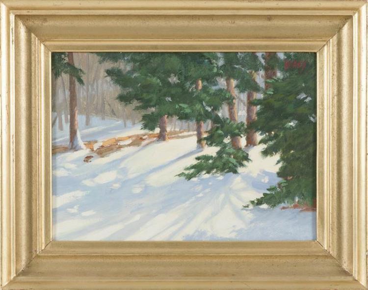 """SAM VOKEY, Massachusetts, b. 1963, Winter landscape., Oil on canvas, 10"""" x 14"""". Framed 14"""" x 18""""."""
