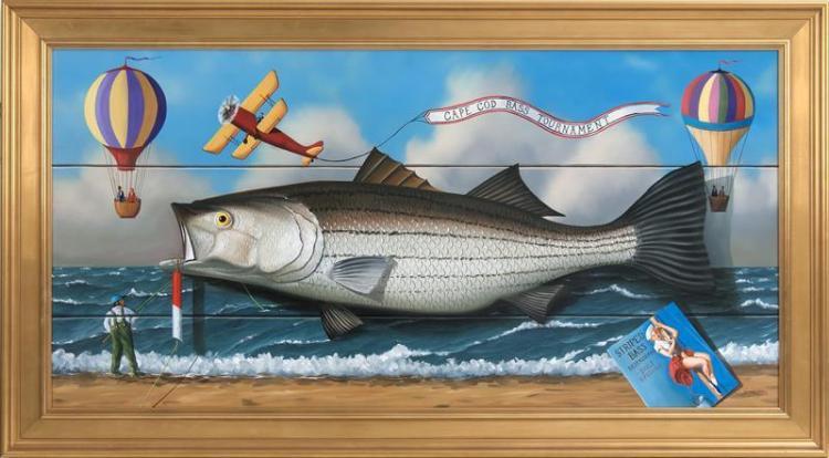 "JEROME HOWES, American, b. 1955, ""Cape Cod Bass Tournament""., Oil on masonite, 24"" x 48"". Framed 30"" x 54""."