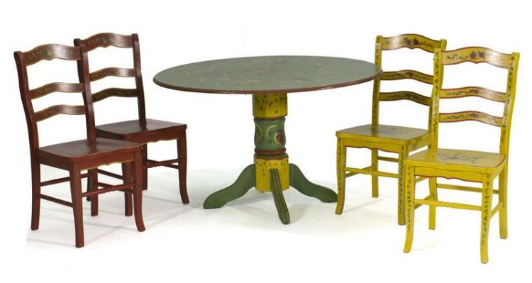 FIVE-PIECE FURNITURE SUITE BY JANE KELTNER Includes a pedestal table and four chairs with painted flower and vine decoration. Two ch...