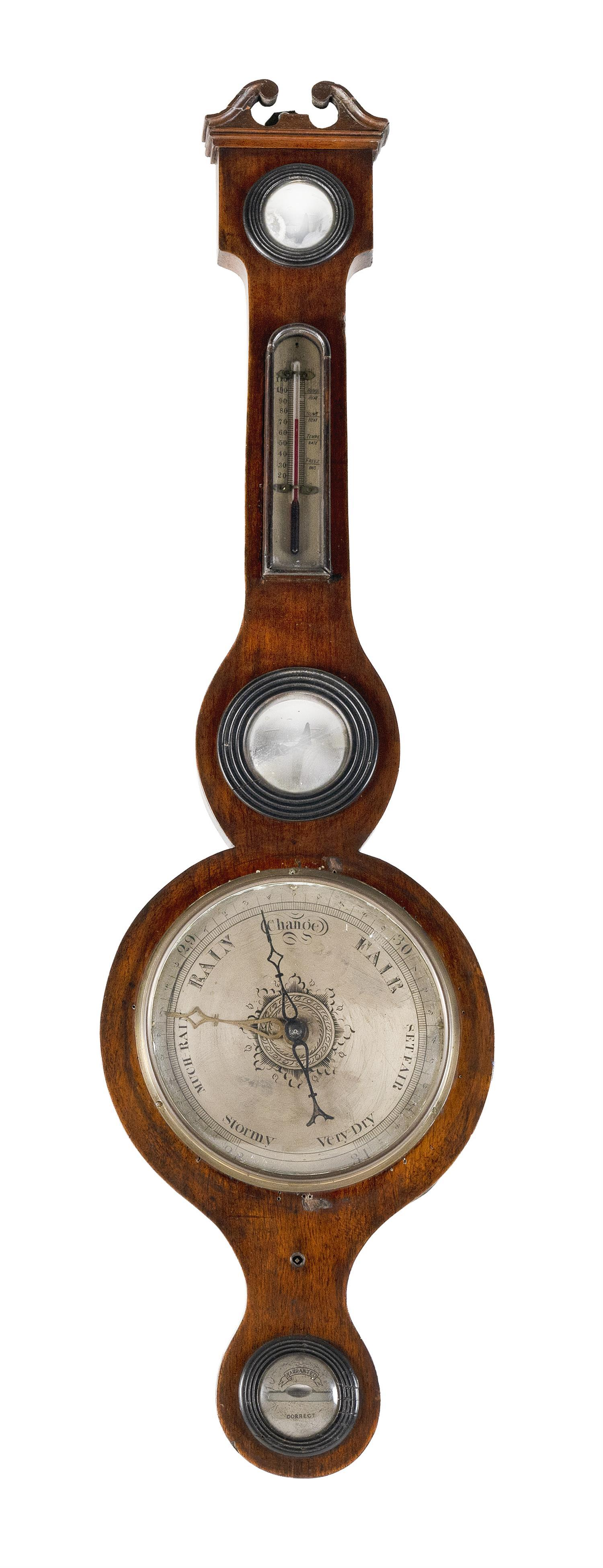 "ENGLISH BANJO BAROMETER Mahogany and mahogany veneer case. Height 38""."