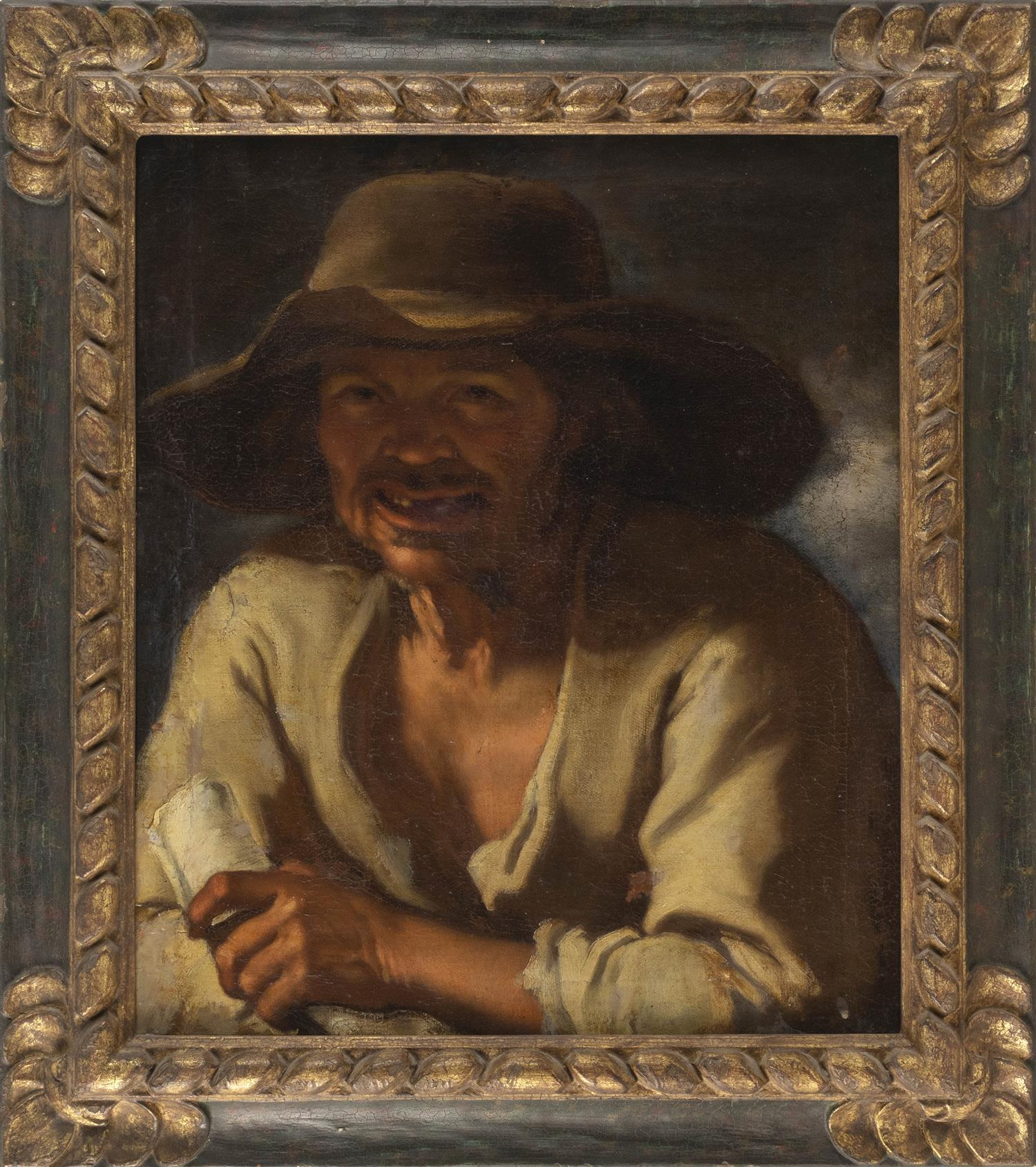 "SPANISH SCHOOL, 18th Century, Portrait of a peasant., Oil on canvas, 24"" x 20"". Framed 32"" x 27""."