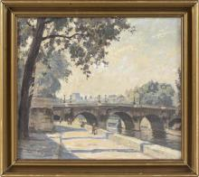 "WALTER MEINHARDT, Denmark, 1891-1948, A stroll along the Seine, Paris., Oil on canvas, 12"" x 14"". Framed 15"" x 17""."