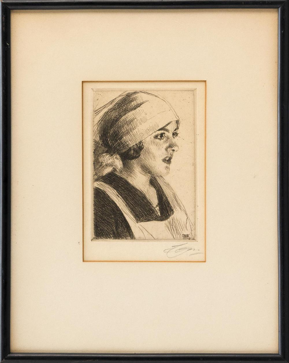 "ANDERS ZORN, Sweden, 1860-1920, Etching on paper depicting the head of a woman., Mat opening 5.75"" x 4"". Framed 12"" x 9.5""."