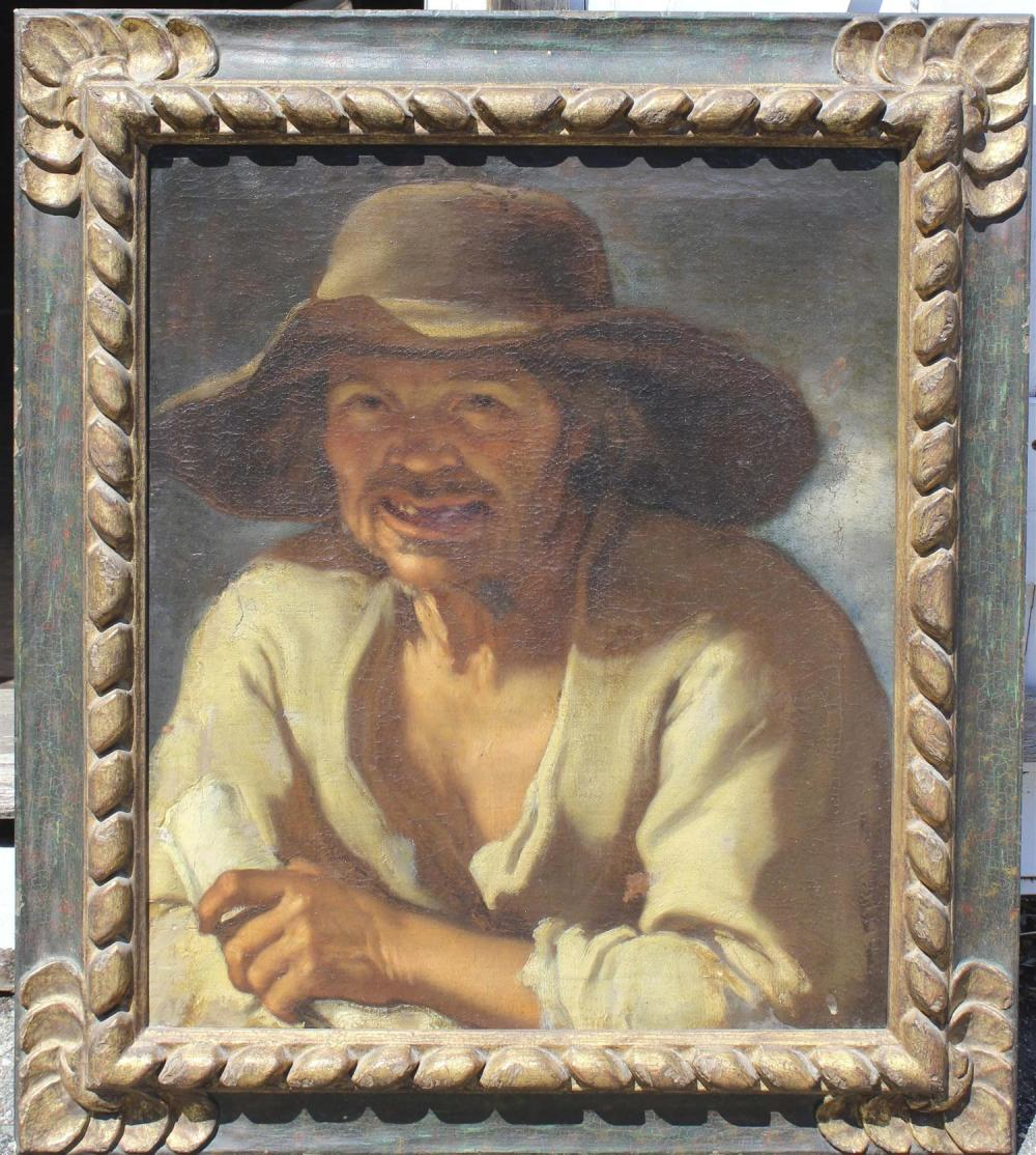 SPANISH SCHOOL, 18th Century, Portrait of a peasant., Oil on canvas, 24
