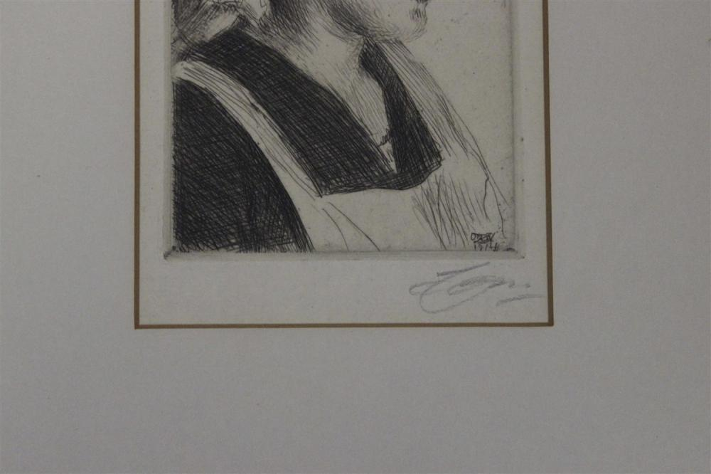 ANDERS ZORN, Sweden, 1860-1920, Etching on paper depicting the head of a woman., Mat opening 5.75