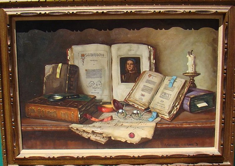JANOS APATFALVI CZENE, Hungarian, 20th Century, Still life with books, eyeglasses, candle and magnifying glass, Oil on canvas, 24