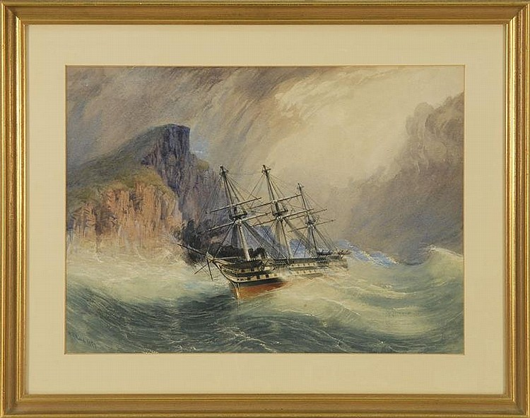 ALFRED RUDOLF WAUD, American, 1828-1891, Weathering the storm., Watercolor on paper, 12½