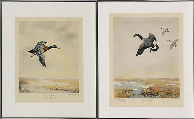 TWO FRAMED PRINTS: ROLAND CLARK. (American, 1874-1957).