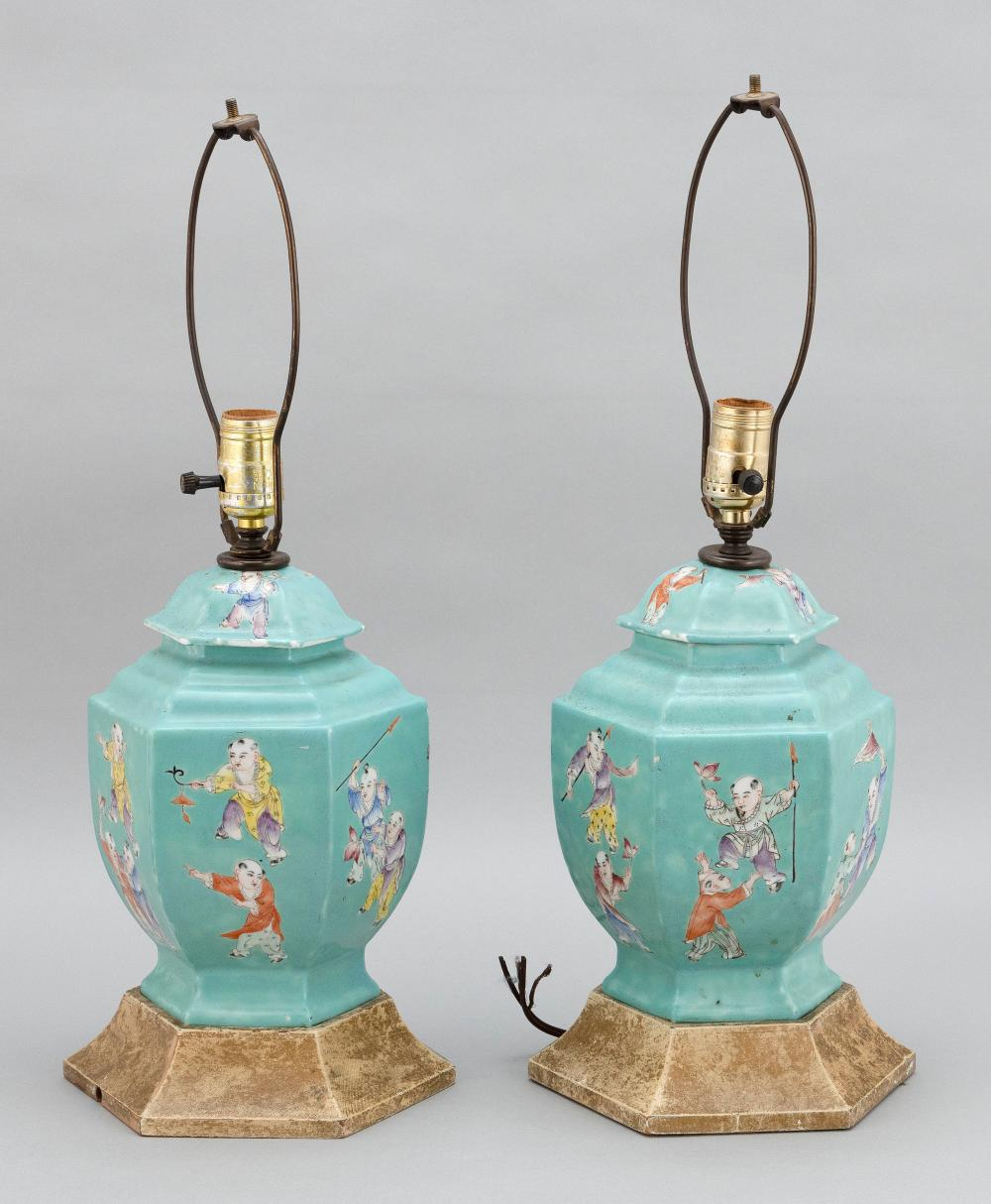 PAIR OF CHINESE FAMILLE ROSE PORCELAIN COVERED JARS 19th Century Heights 10