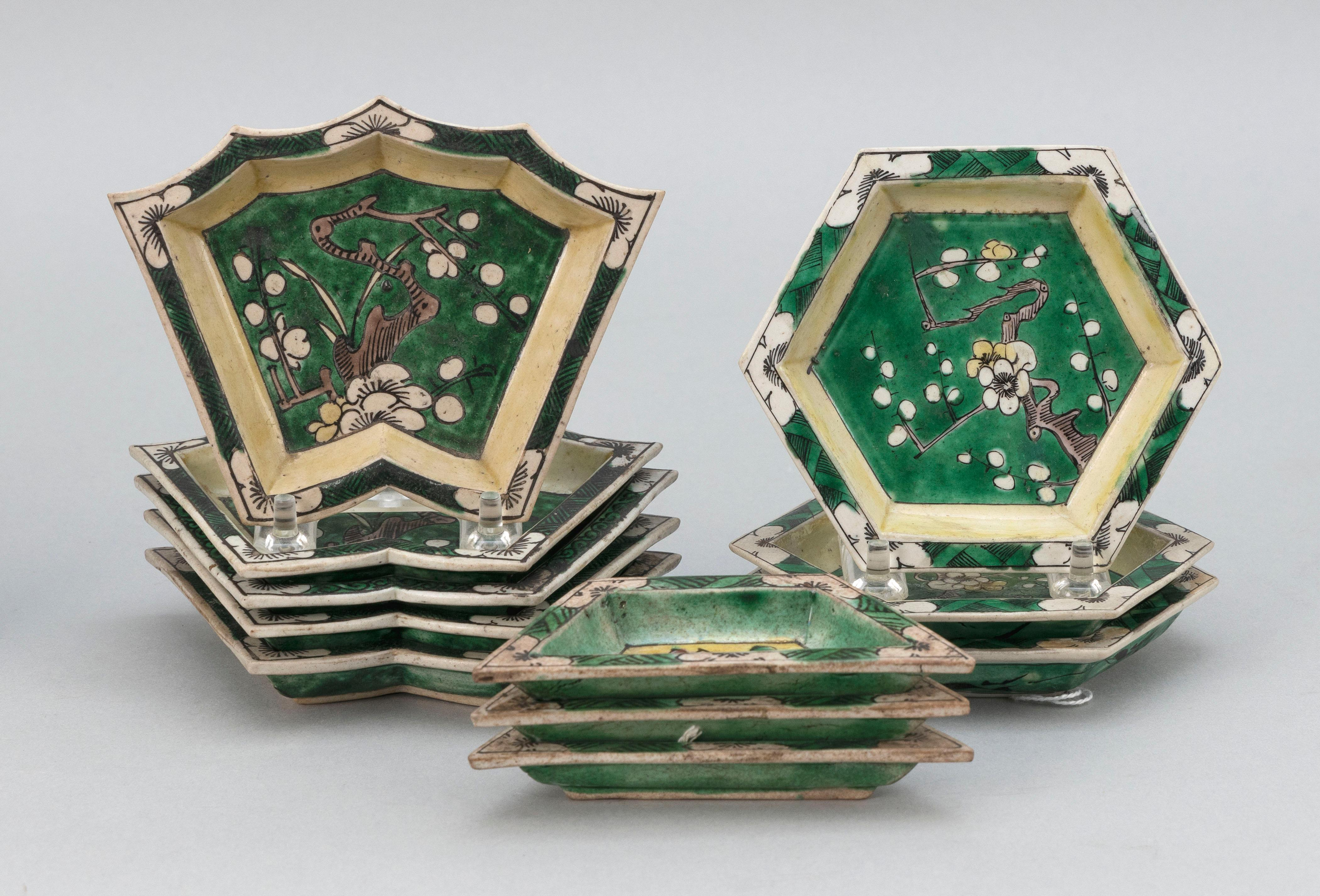 """SET OF ELEVEN CHINESE FAMILLE VERTE PORCELAIN SWEETMEAT DISHES Kangxi Period Lengths from 4.5"""" to 5.5""""."""