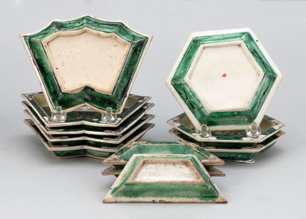 SET OF ELEVEN CHINESE FAMILLE VERTE PORCELAIN SWEETMEAT DISHES Kangxi Period Lengths from 4.5