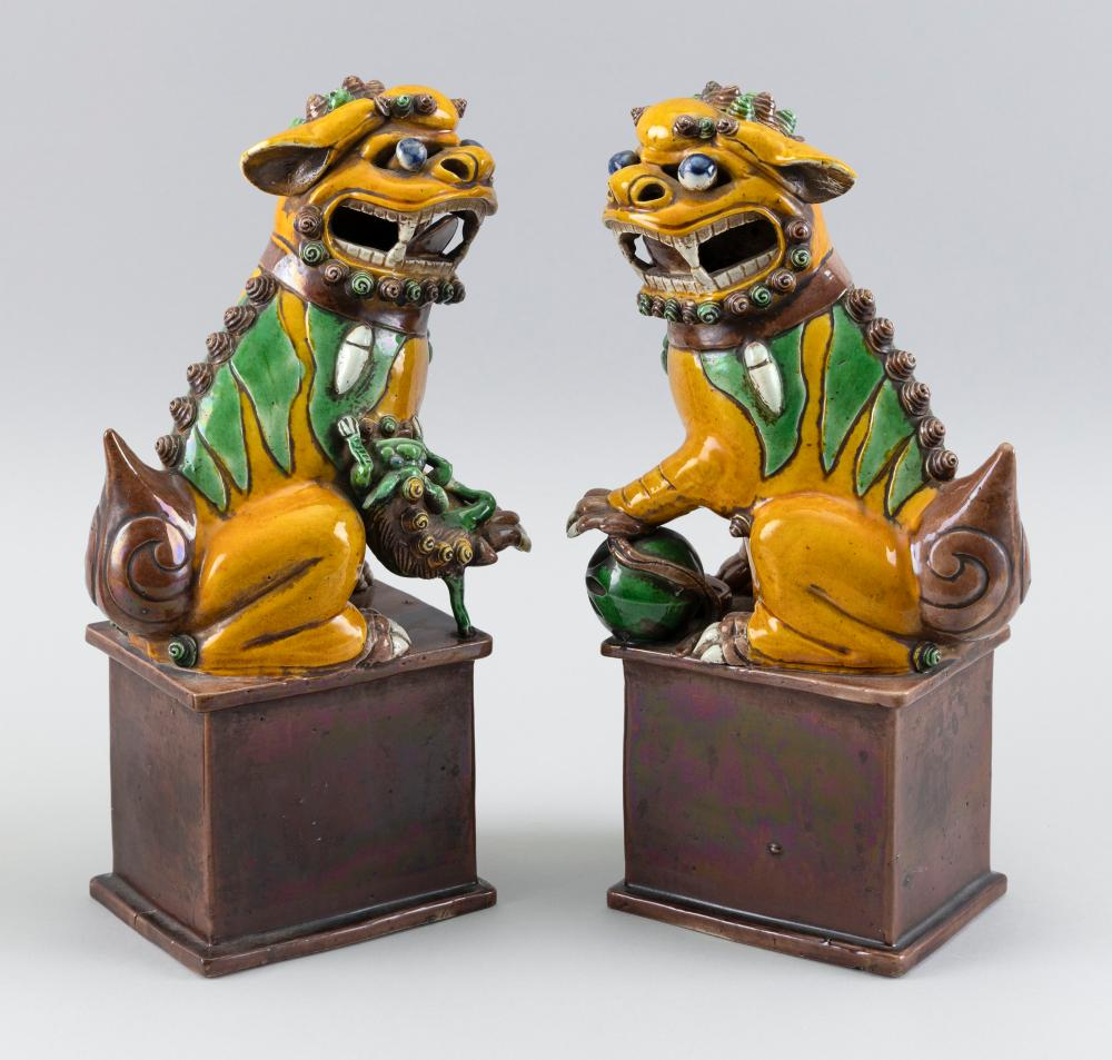 """PAIR OF CHINESE SANCAI PORCELAIN FU DOGS Late 19th Century Heights 12""""."""