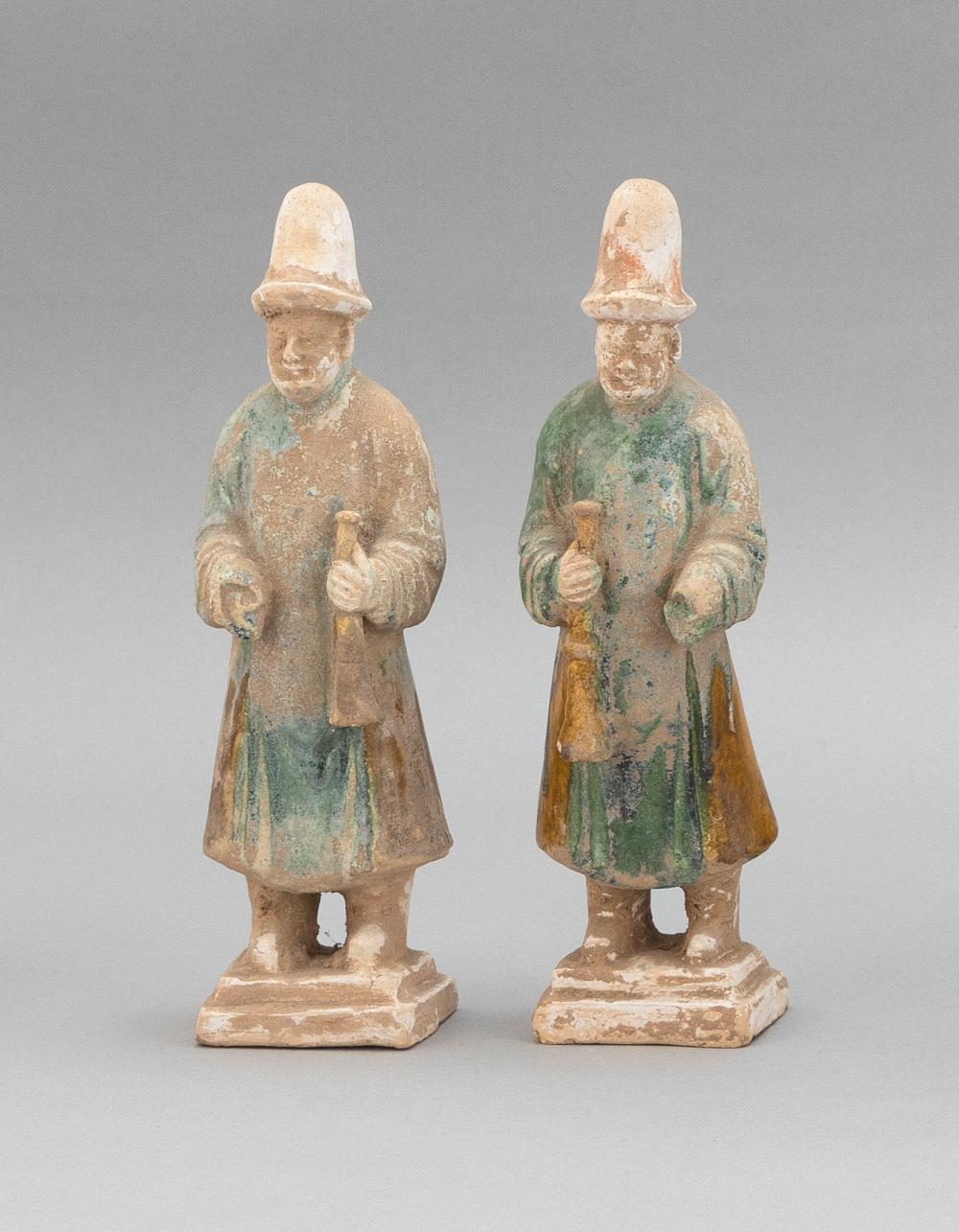"""PAIR OF CHINESE SANCAI POTTERY TOMB FIGURES Ming Dynasty Heights 9.5""""."""