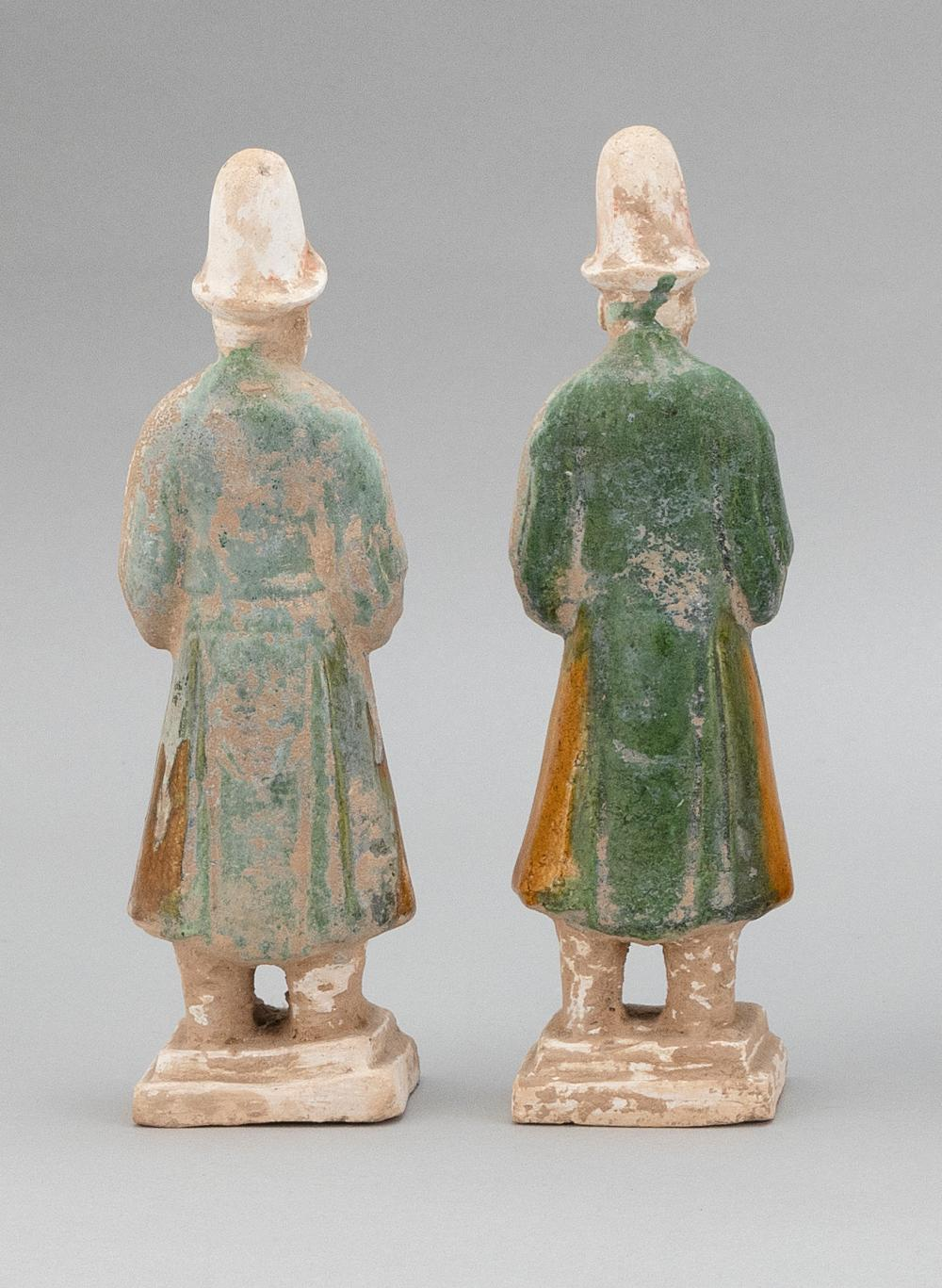 PAIR OF CHINESE SANCAI POTTERY TOMB FIGURES Ming Dynasty Heights 9.5