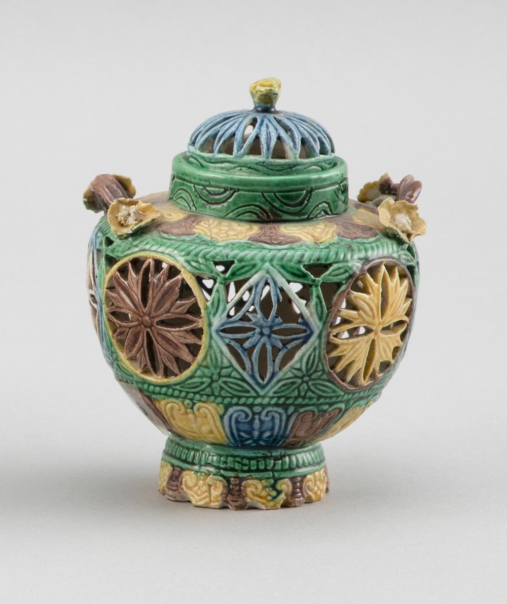 """FINE CHINESE SANCAI PORCELAIN COVERED CENSER Early 19th Century Height 4.5""""."""