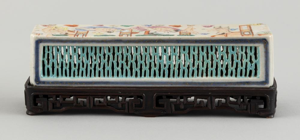 CHINESE RETICULATED PORCELAIN CRICKET CAGE WITH EROTIC SCENES 19th Century Height 1.75