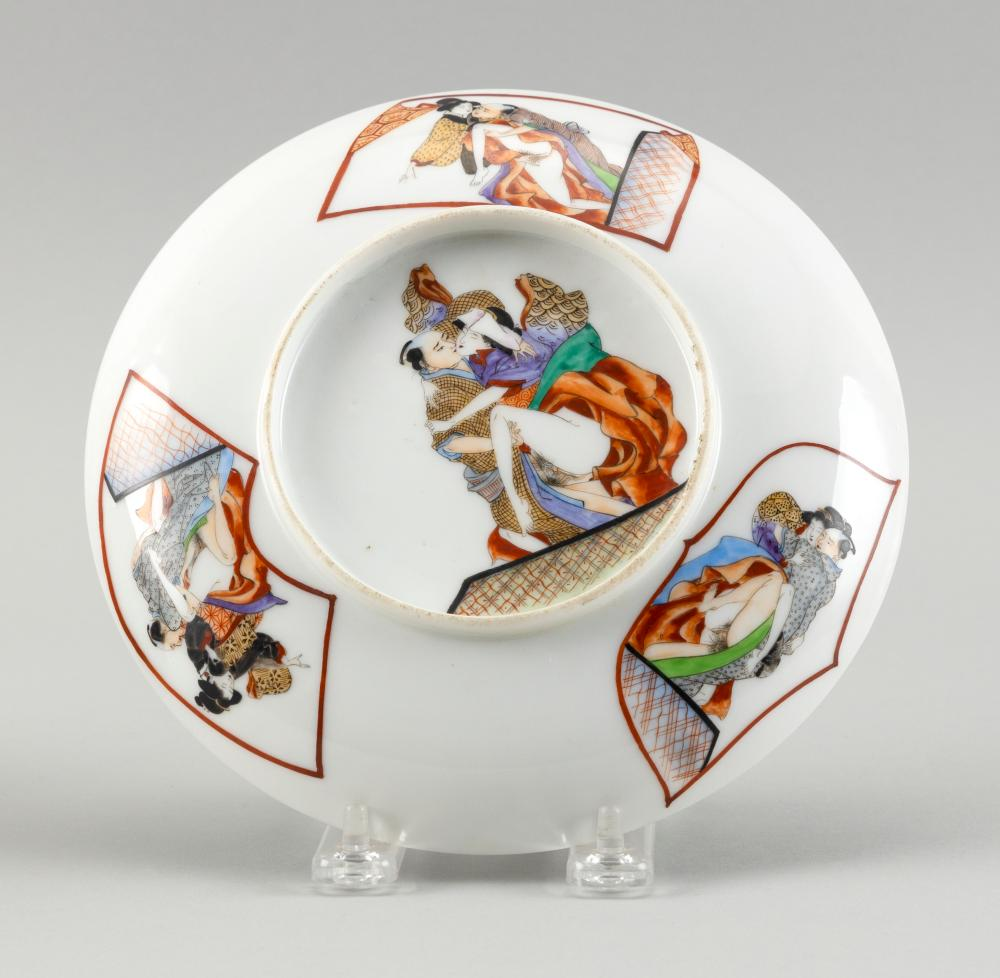 CHINESE POLYCHROME ENAMELED PORCELAIN DISH WITH EROTIC SCENES 19th Century Diameter 7.5
