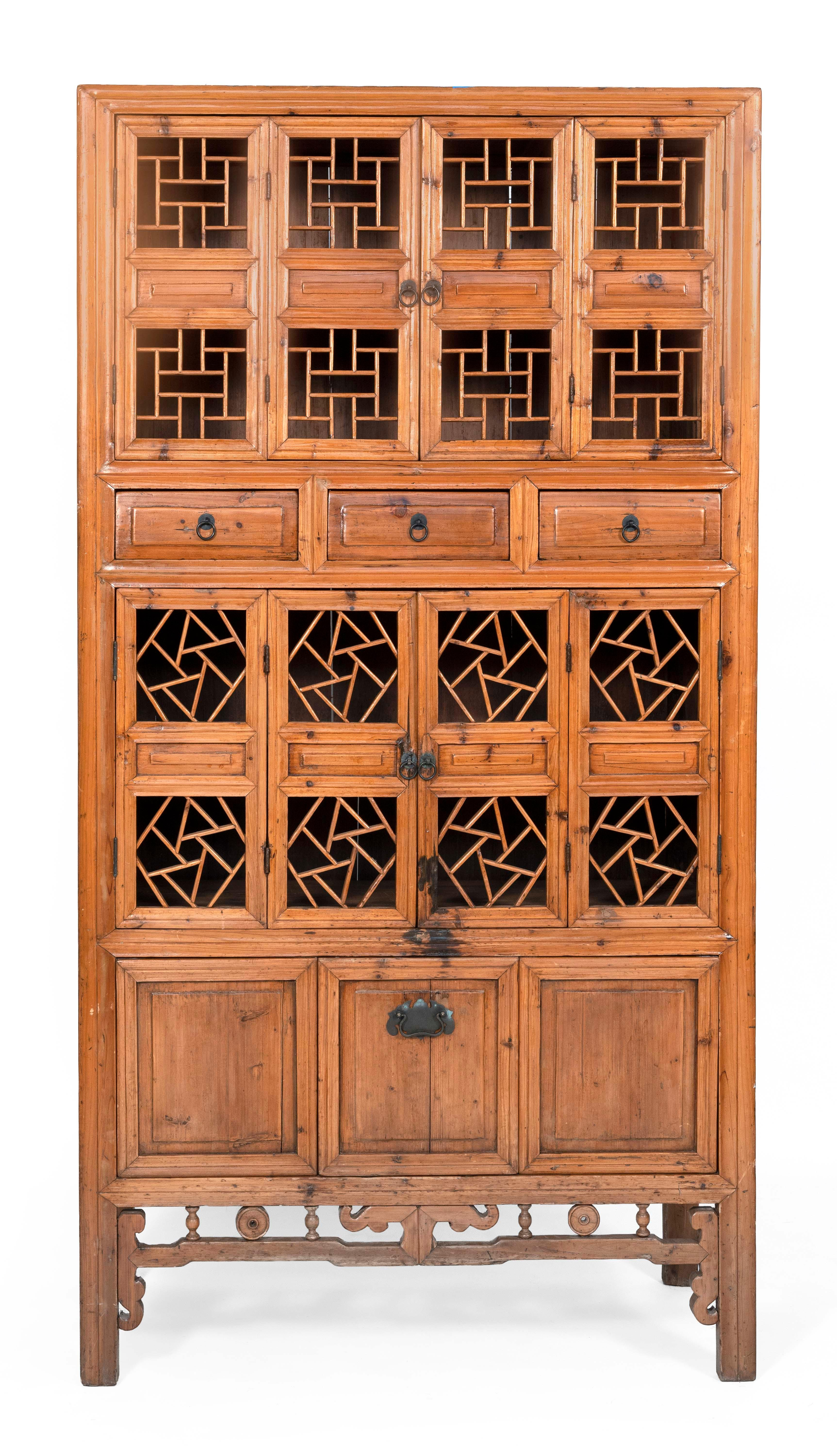 """CHINESE MULTI-COMPARTMENT CABINET 20th Century Height 83"""". Width 43.5"""". Depth 20.5""""."""