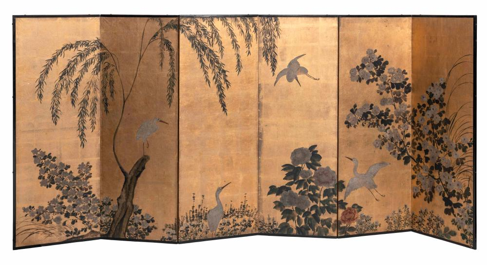 "JAPANESE SIX-PANEL SCREEN Late Meiji Period Height 55.5"". Length 120""."