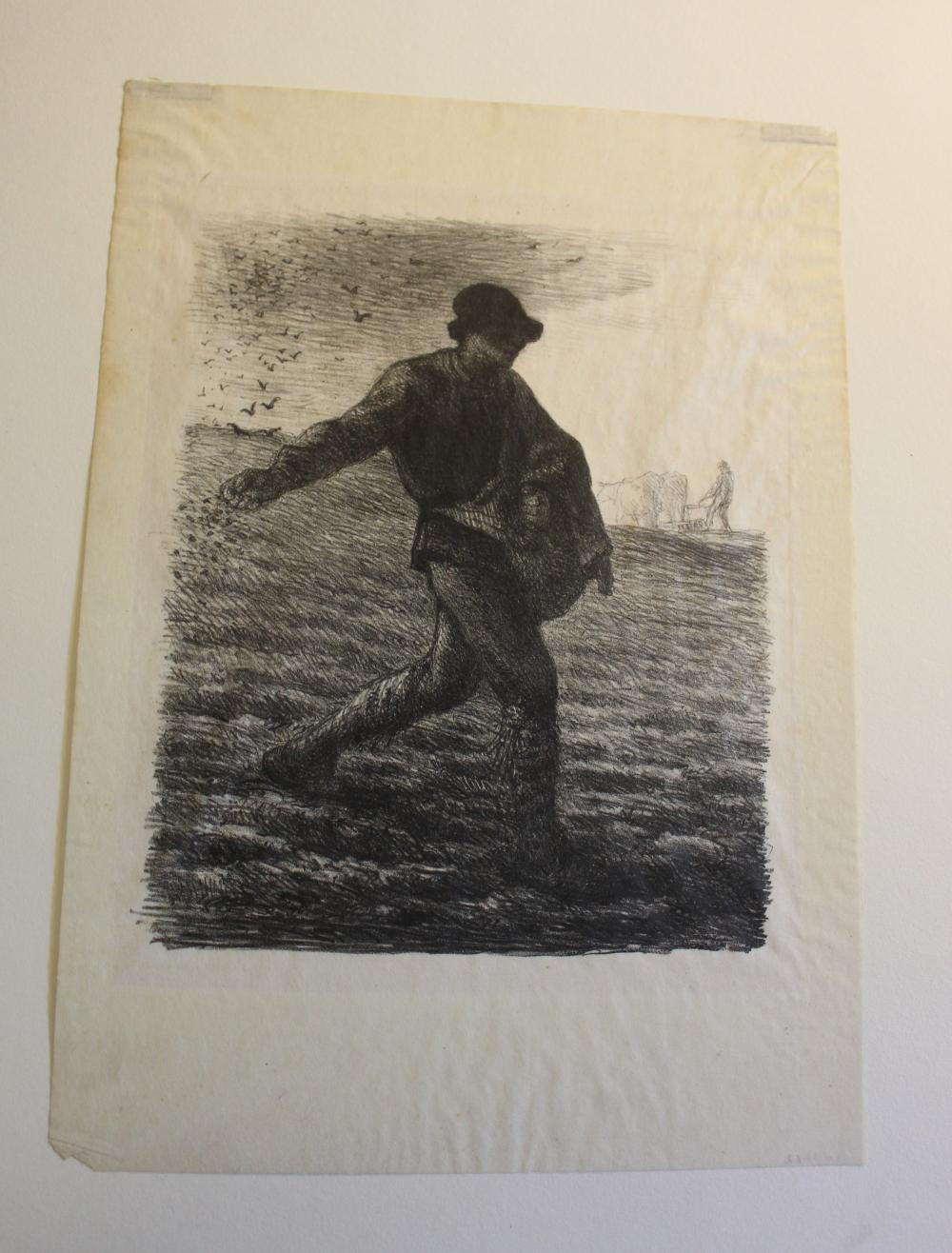 """JEAN FRANCOIS MILLET (France, 1814-1875), """"Man with Wheelbarrow (Le paysan rentrant du fumier)""""., Etching on paper, 7"""" x 5.5"""" sight. Framed 16.25"""" x 14.25""""."""