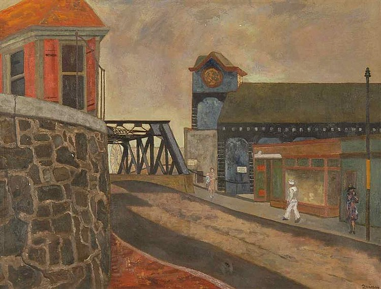 EDMUND QUINCY, American, 1903-1997, Charlestown Navy Yard (Boston)., Oil on canvas, 27