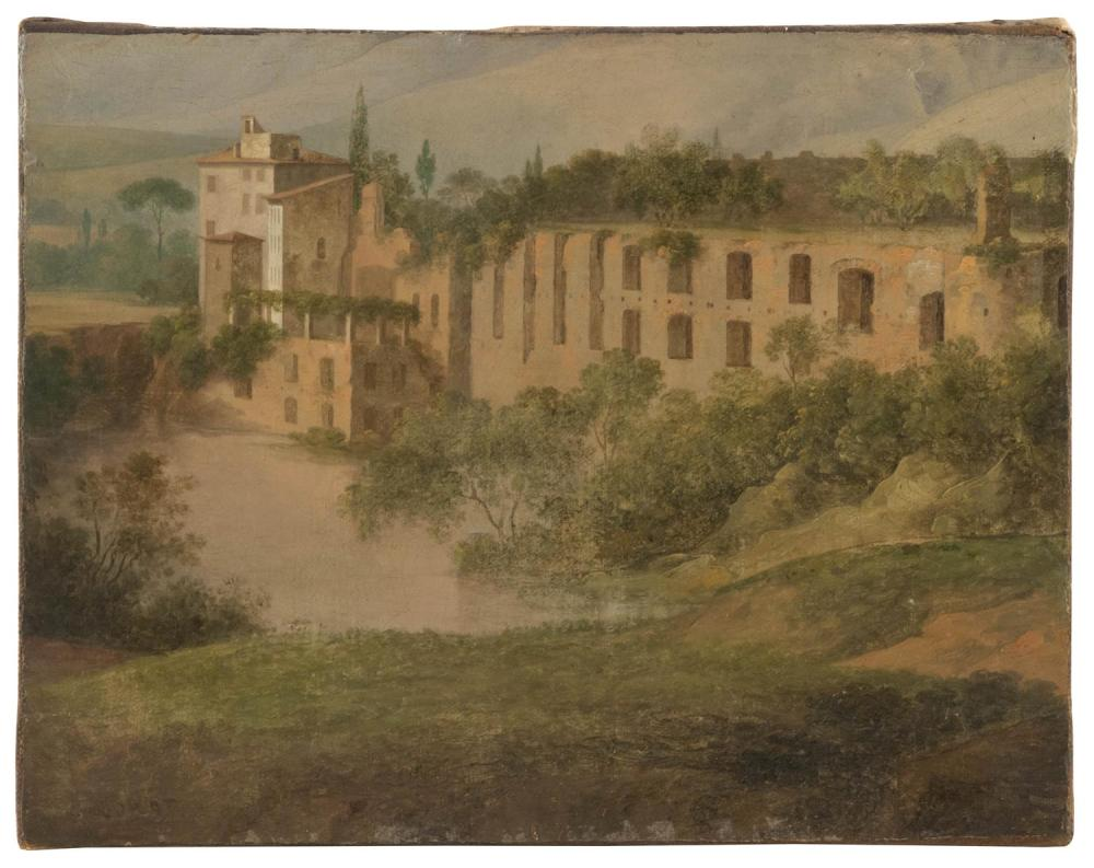 """ATTRIBUTED TO JEAN-BAPTISTE-CAMILLE COROT, France/Italy, 1796-1875, Italian landscape., Oil on canvas, 10.5"""" x 13.75"""". Unframed."""