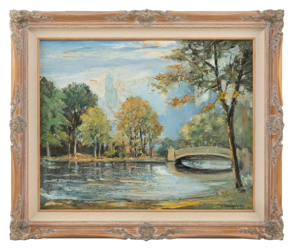 BELA DETIREFORT, New York/Florida, 1894-1993, Bow Bridge, Central Park, New York, with the Carlyle Hotel in the background., Oil on...