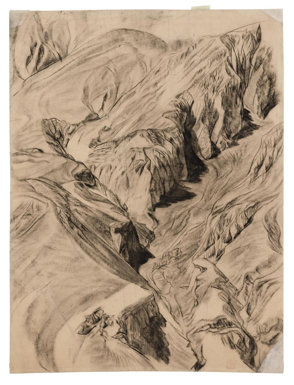 """ATTRIBUTED TO ALEXANDRE EVGENIEVICH YAKOVLEV, Russian Federation, 1887-1938, Mountainous landscape., Charcoal on paper, 28.5"""" x 21.5..."""