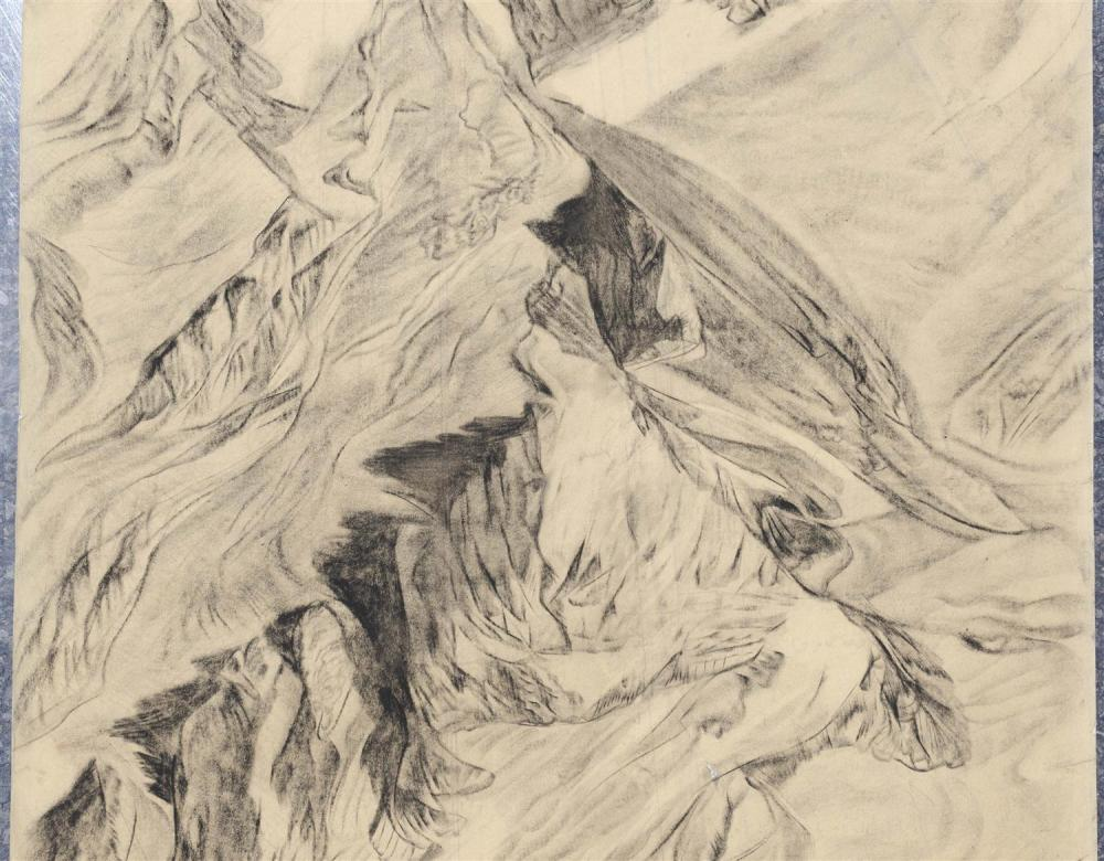 ATTRIBUTED TO ALEXANDRE EVGENIEVICH YAKOVLEV, Russian Federation, 1887-1938, Mountainous landscape., Charcoal on paper, 28.5