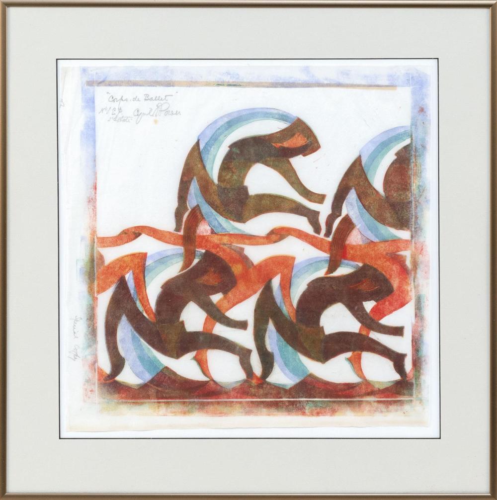"CYRIL POWER, United Kingdom, 1872-1951, ""Corps de Ballet"",, Linocut on Japan paper, 12.75"" x 12.75"". Framed 17.75"" x 17.5""."