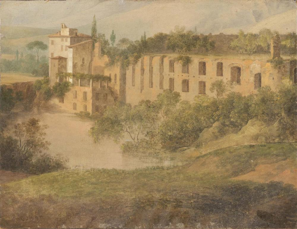 ATTRIBUTED TO JEAN-BAPTISTE-CAMILLE COROT, France/Italy, 1796-1875, Italian landscape., Oil on canvas, 10.5