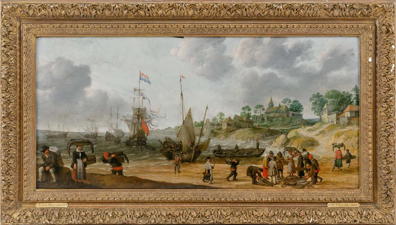 "MANNER OF ADAM WILLAERTS, Continental, A busy Dutch shore scene., Oil on panel, 15.25"" x 31.75"". Framed 22"" x 38""."