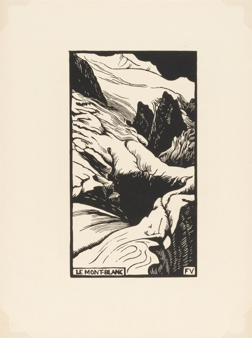 "FELIX VALLOTTON, Switzerland/France, 1865-1925, ""Le Mont-Blanc"", 1892., Woodcut on paper, sheet size 13.5"" x 10.125"". Unframed."