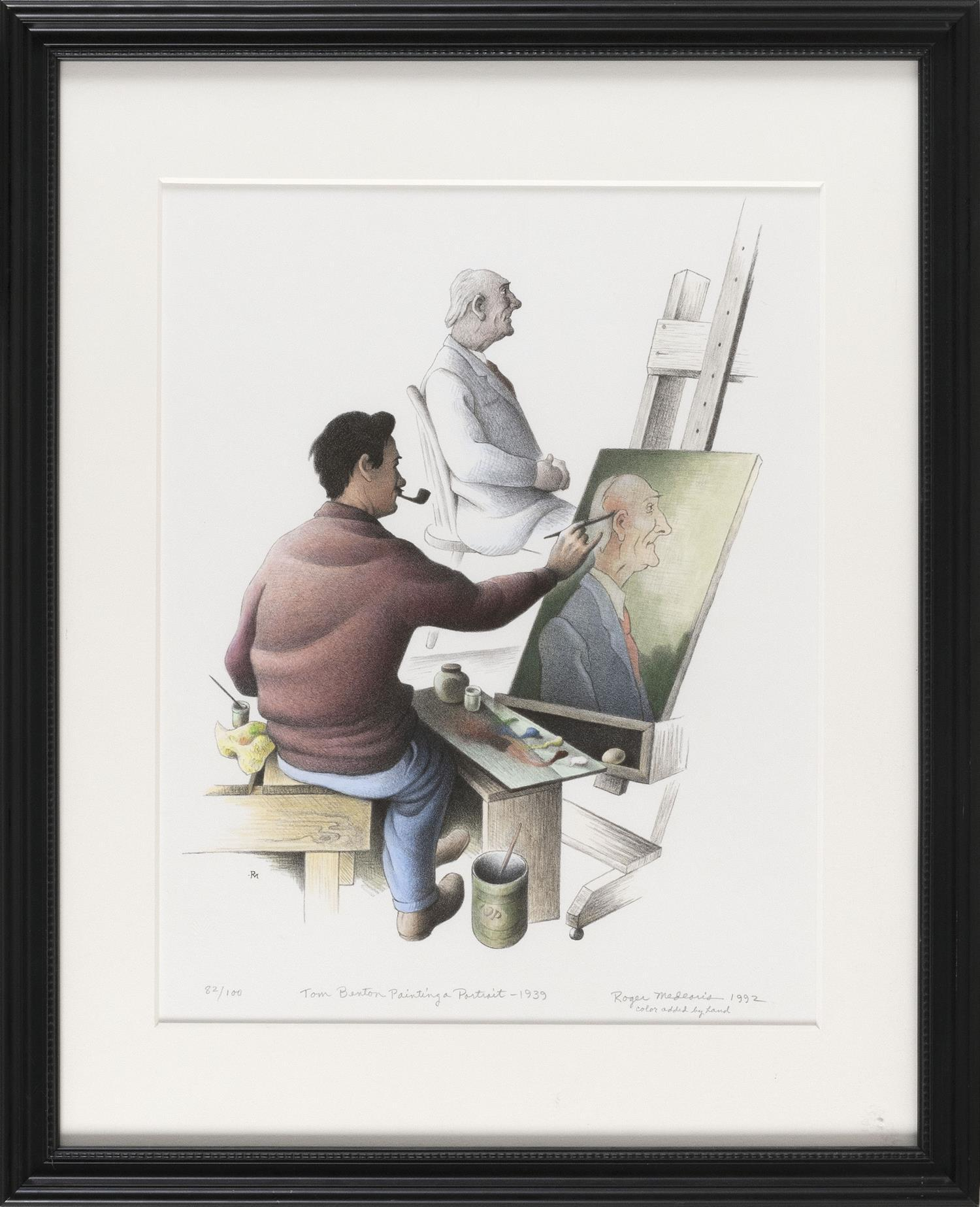 """ROGER NORMAN MEDEARIS, California/Missouri, 1920-2001, """"Tom Benton Painting a Portrait - 1939""""., Hand-touched lithograph on paper, 1..."""