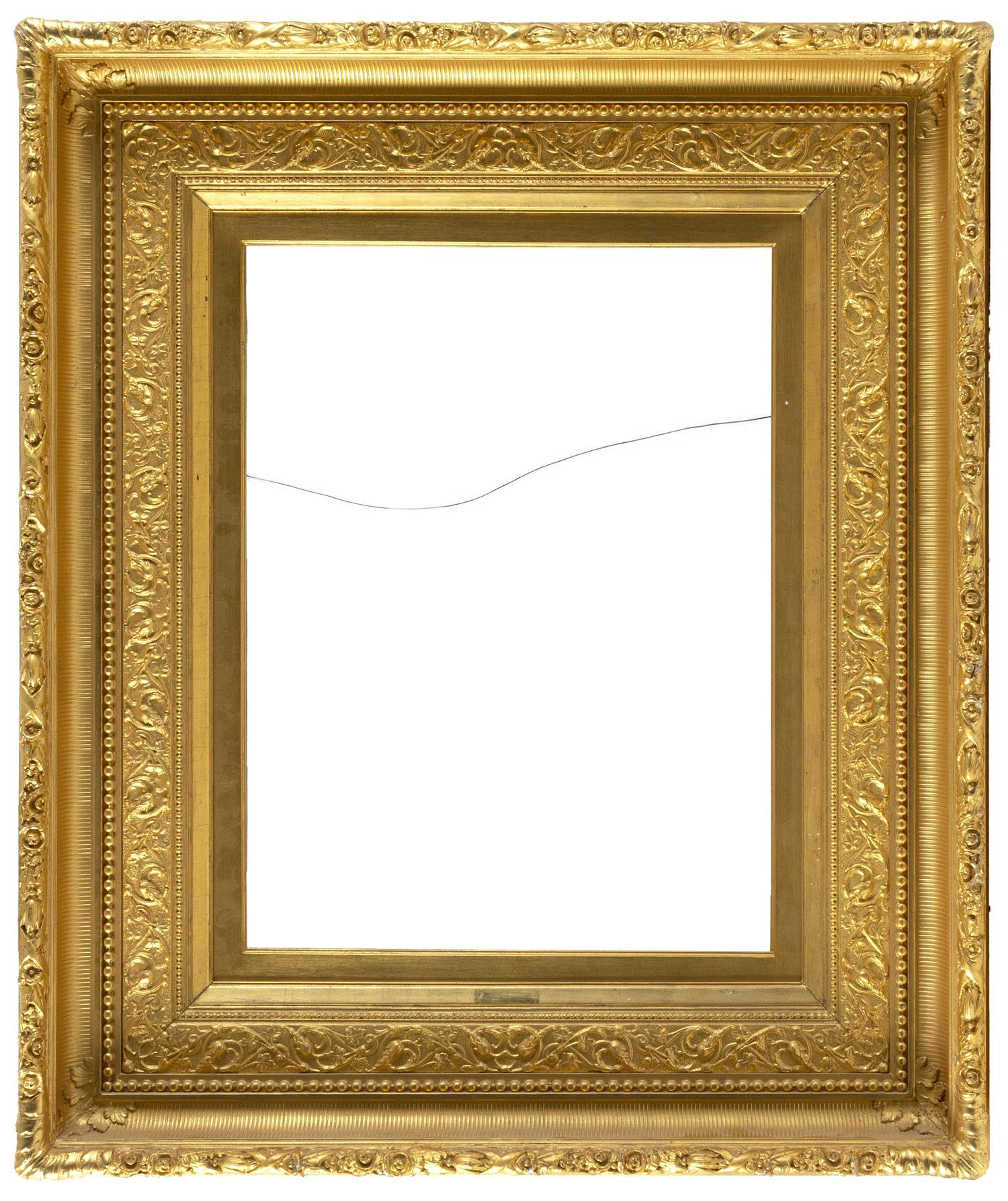 "HUDSON RIVER SCHOOL PICTURE FRAME Classic fluted cove frame with raised foliate molded edge. 32"" x 38"". Aperture 17.5"" x 23.5""."