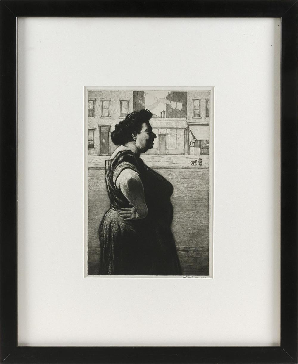 """MARTIN LEWIS, New York/Connecticut/Maine/Australia, 1881-1962, """"Boss of the Block""""., Etching and aquatint on wove paper, 11"""" x 7.5""""..."""