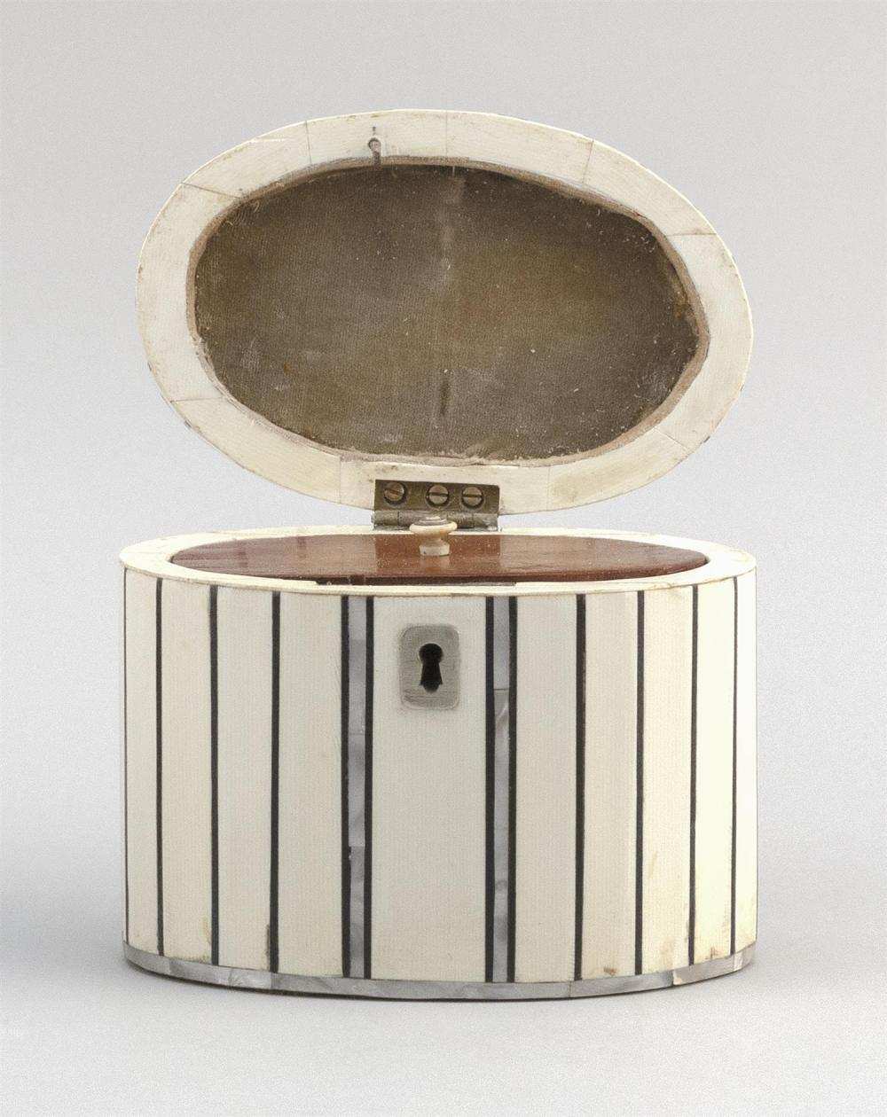 ENGLISH BONE, ABALONE AND SILVER PLATED OVAL TEA CADDY With lift top and fitted interior. Height 4.25