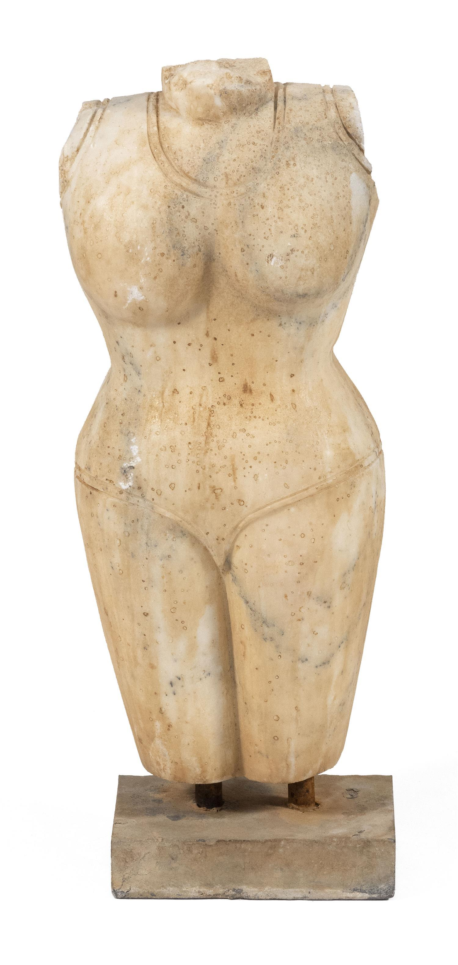 "WHITE MARBLE FIGURE OF NUDE FEMALE TORSO Indian, age unknown. Height 25""."