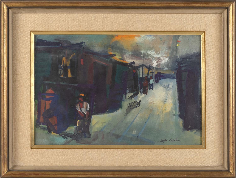 "JOSEPH KAPLAN, New York/Massachusetts/Russian Federation, 1900-1982, Pier scene., Gouache, 15"" x 22"" sight. Framed 24"" x 31""."