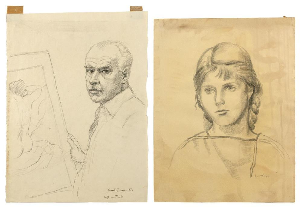 ERNEST FIENE, New York/Germany, 1894-1965, Two unframed portrait sketches: