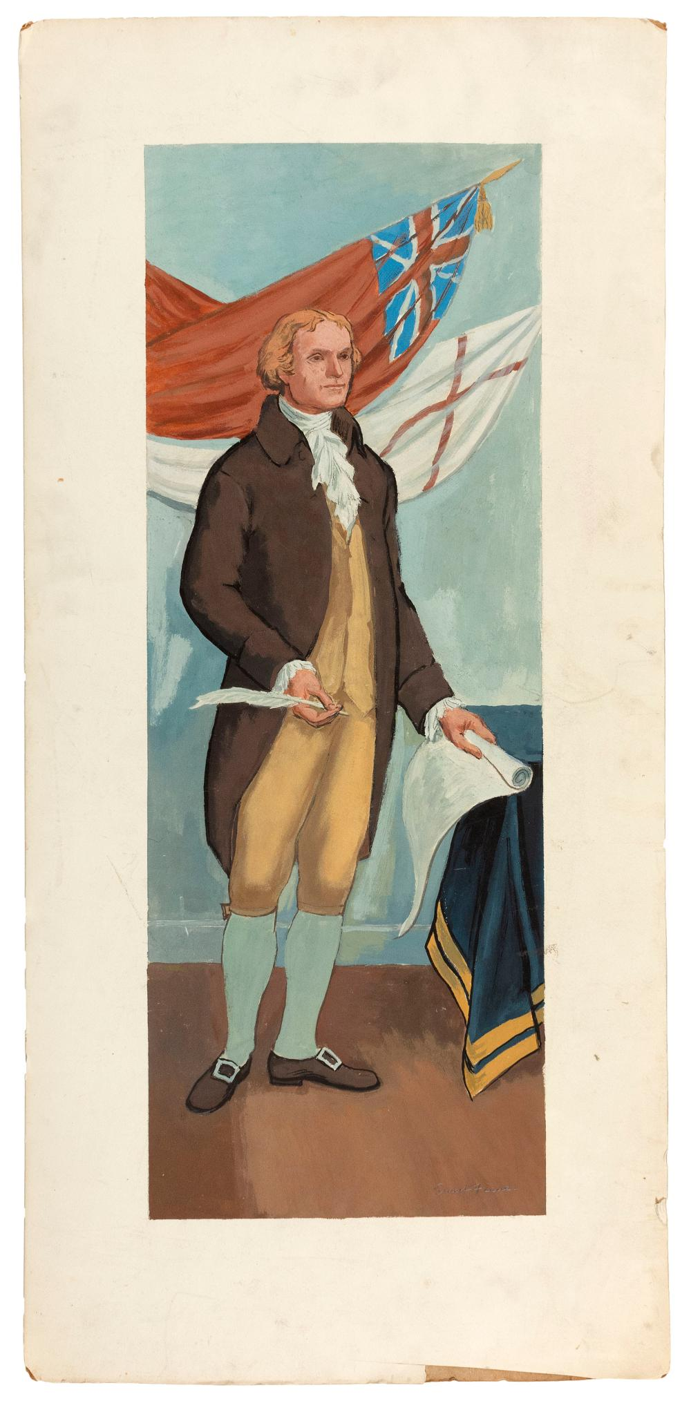 """ERNEST FIENE, New York/Germany, 1894-1965, Study for portrait mural of Thomas Jefferson., Casein on cold pressed board, image 26.13""""..."""