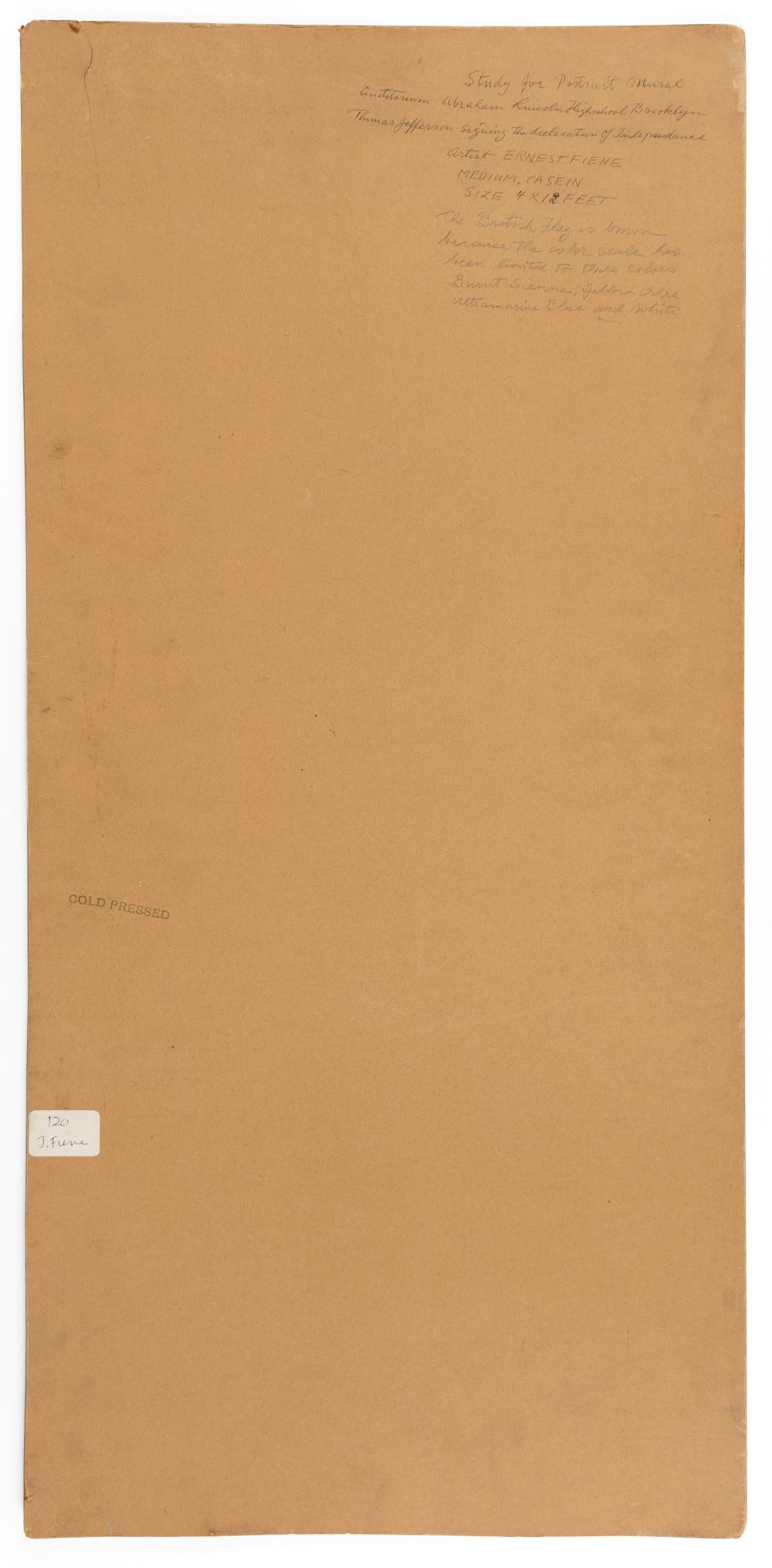 ERNEST FIENE, New York/Germany, 1894-1965, Study for portrait mural of Thomas Jefferson., Casein on cold pressed board, image 26.13