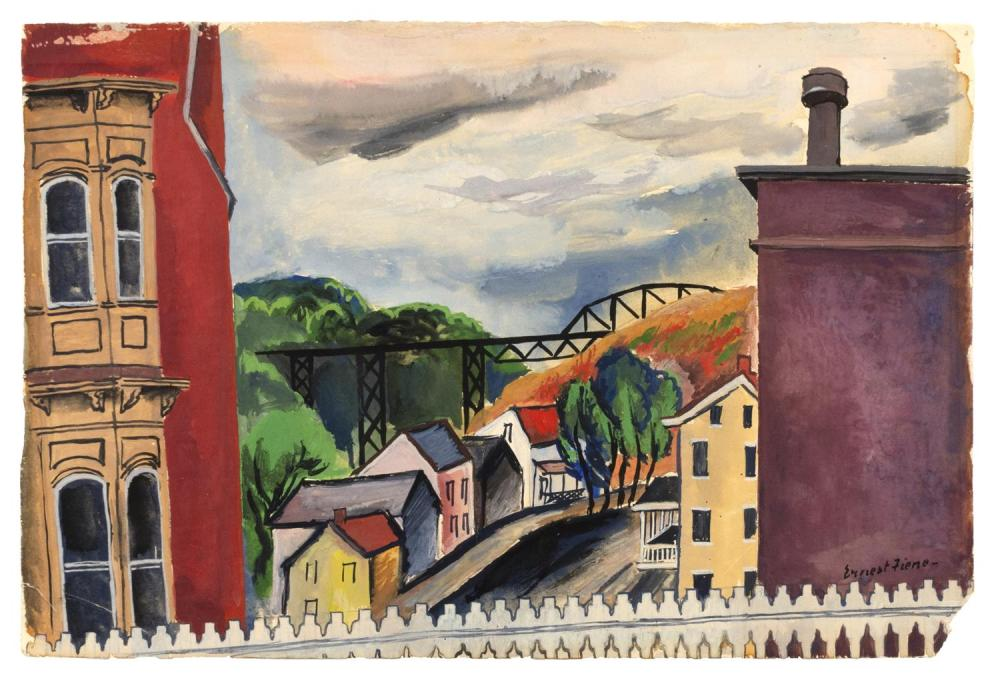 """ERNEST FIENE, New York/Germany, 1894-1965, Town with railroad bridge., Watercolor and gouache on paper, 13"""" x 19"""". Unframed."""