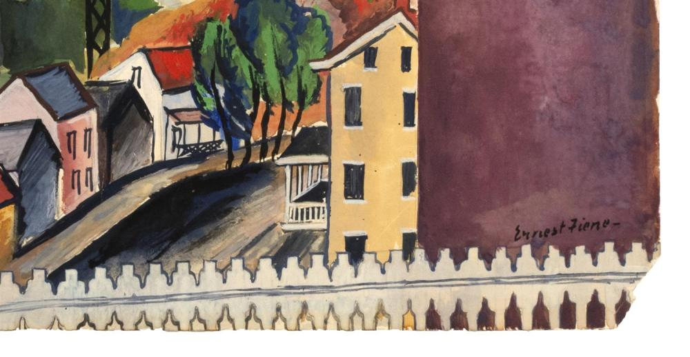ERNEST FIENE, New York/Germany, 1894-1965, Town with railroad bridge., Watercolor and gouache on paper, 13
